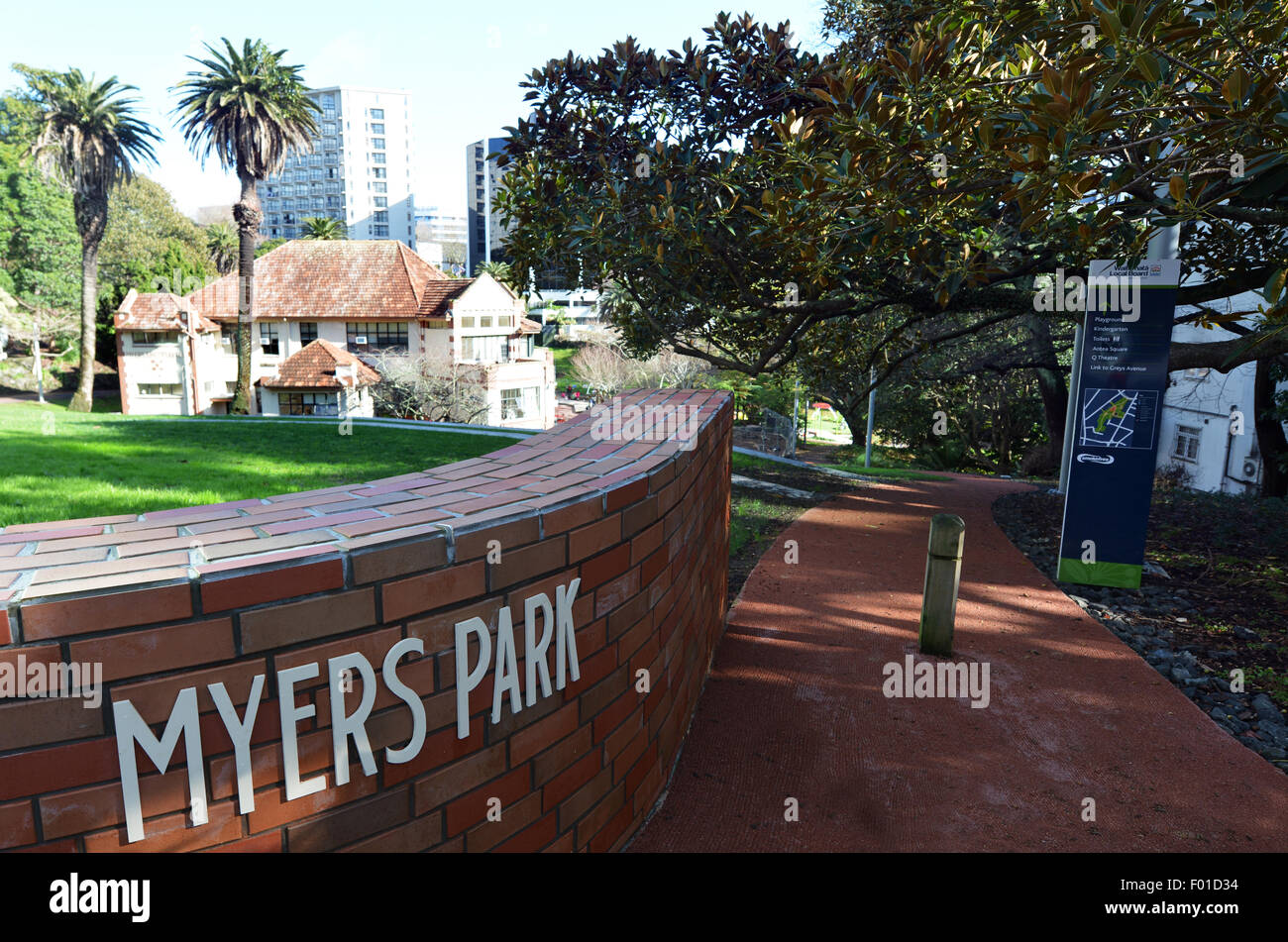 AUCKLAND -  AUG 06 2015:Myers Park in Auckland New Zealand.Myers Park developed in 1913 and for it's 100-year - Stock Image