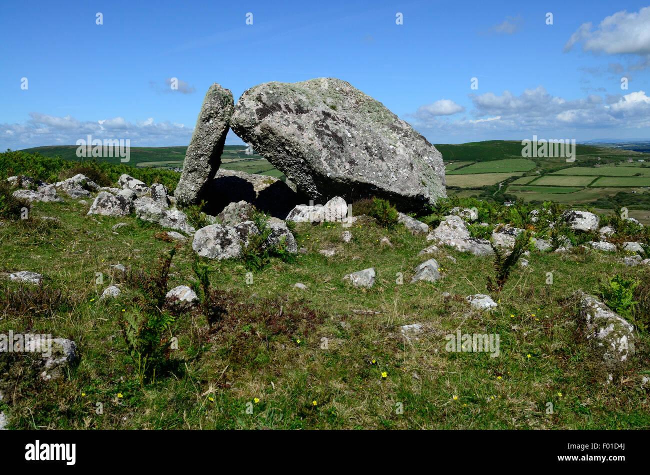 Sweynes Howes chambered tomb on Rhossili Down Gower peninsula Glamorgan Wales Cymru K GB - Stock Image