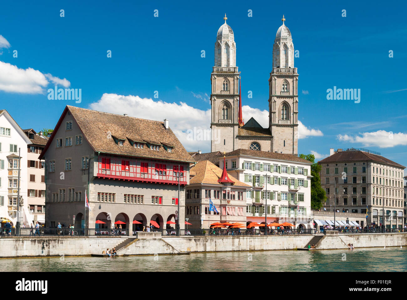 View of Zurich city center; the church in the background is the cathedral - Stock Image