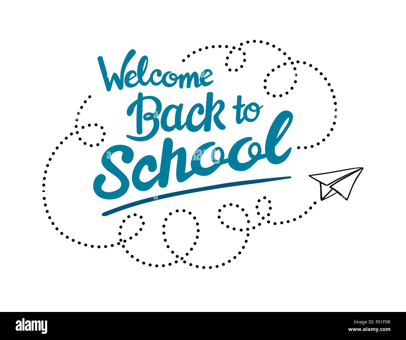 Welcome back to school message with paper plane icon vector
