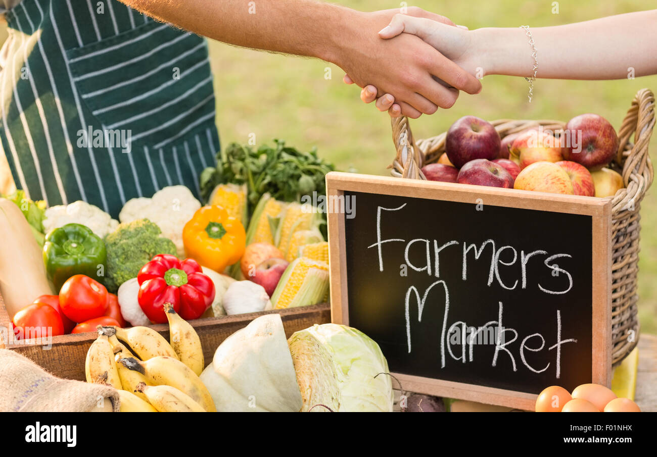 Farmer shaking his customers hand - Stock Image