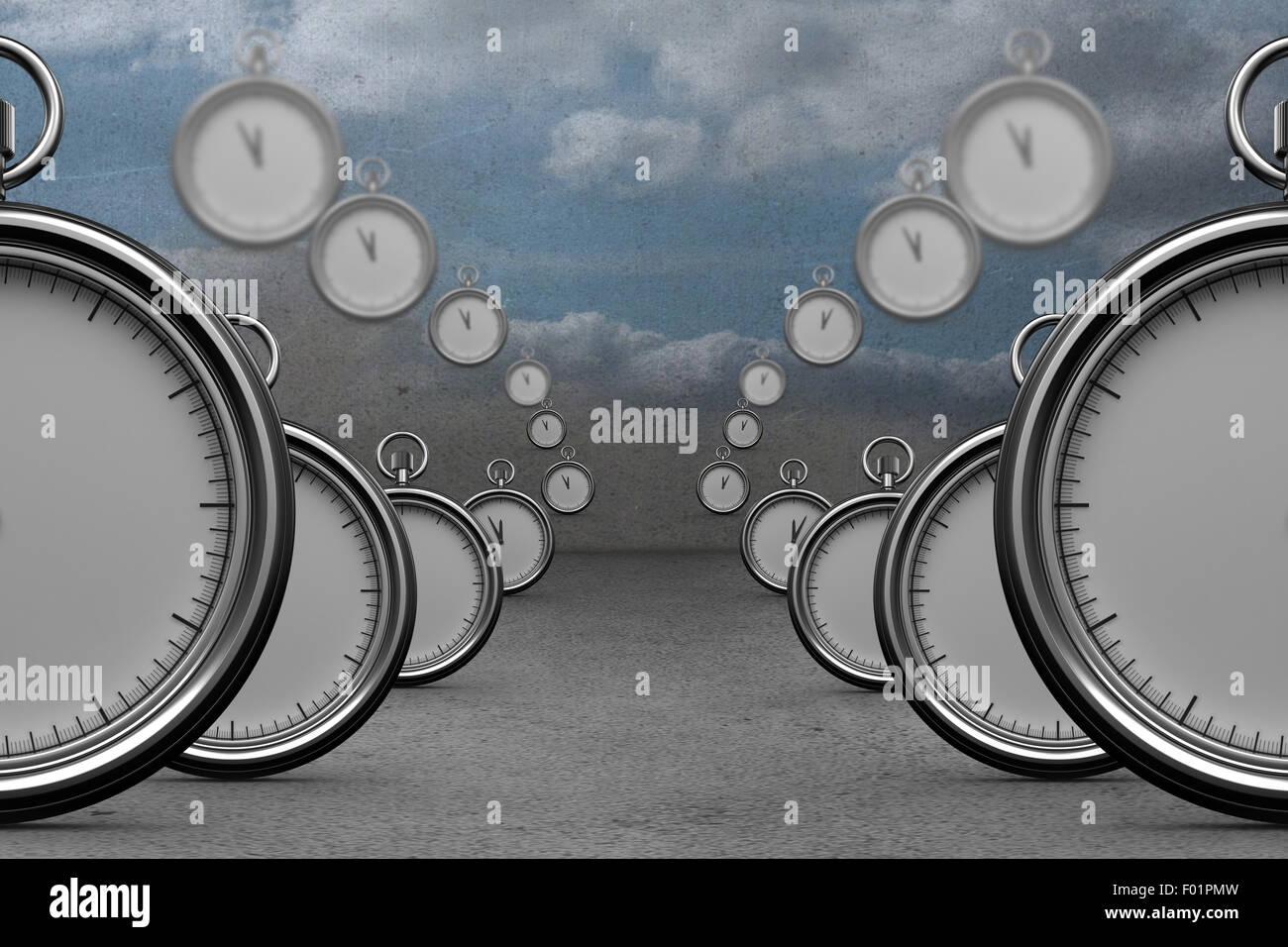 Composite image of clocks - Stock Image