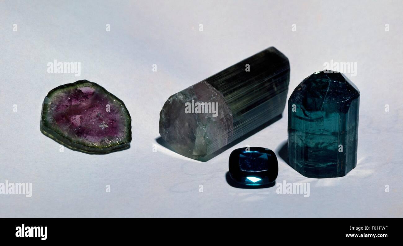 Polychrome Tourmaline specimens, silicate. - Stock Image