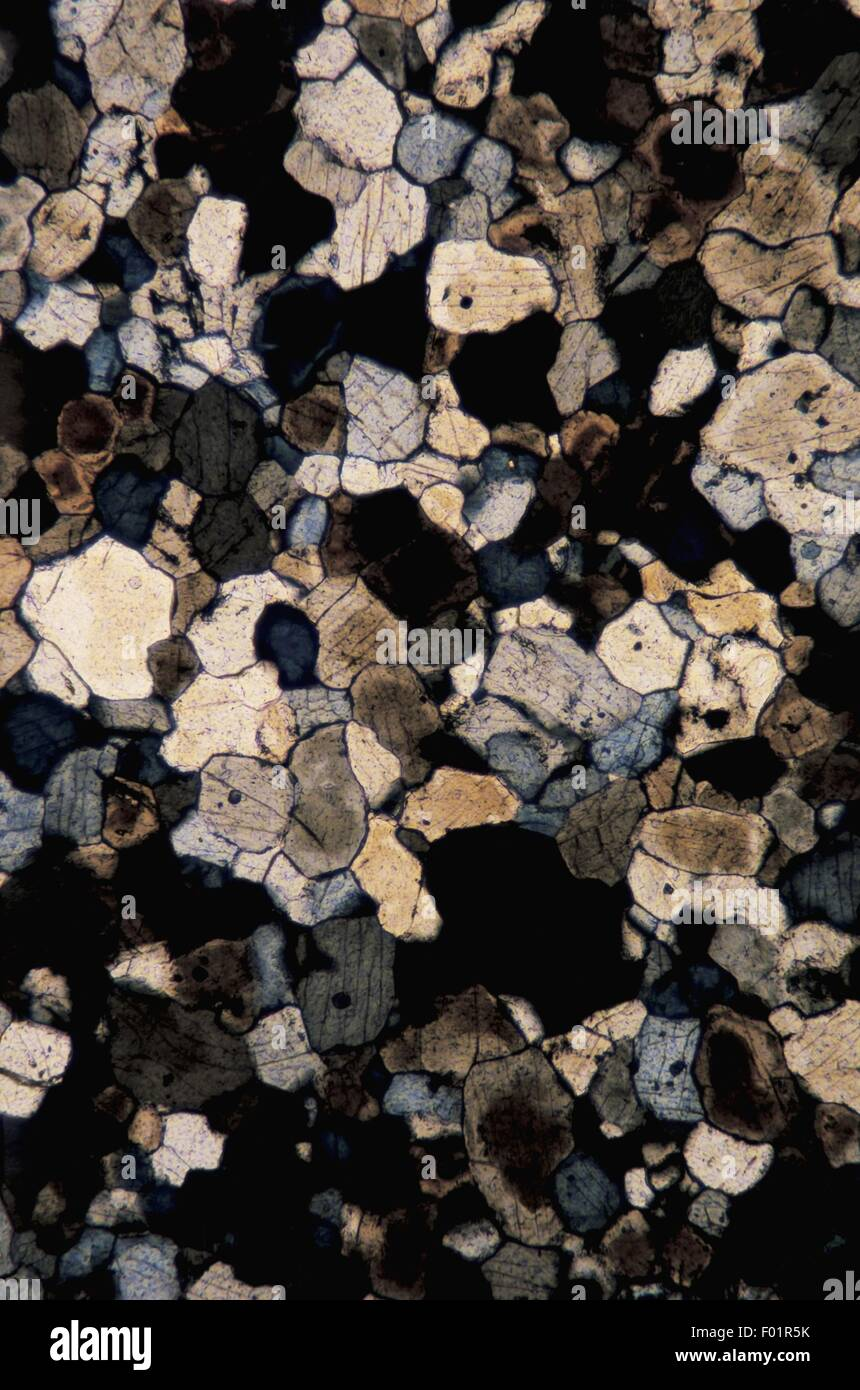Minerals: Thin section, crossed nicols X100X1,5 - Stock Image