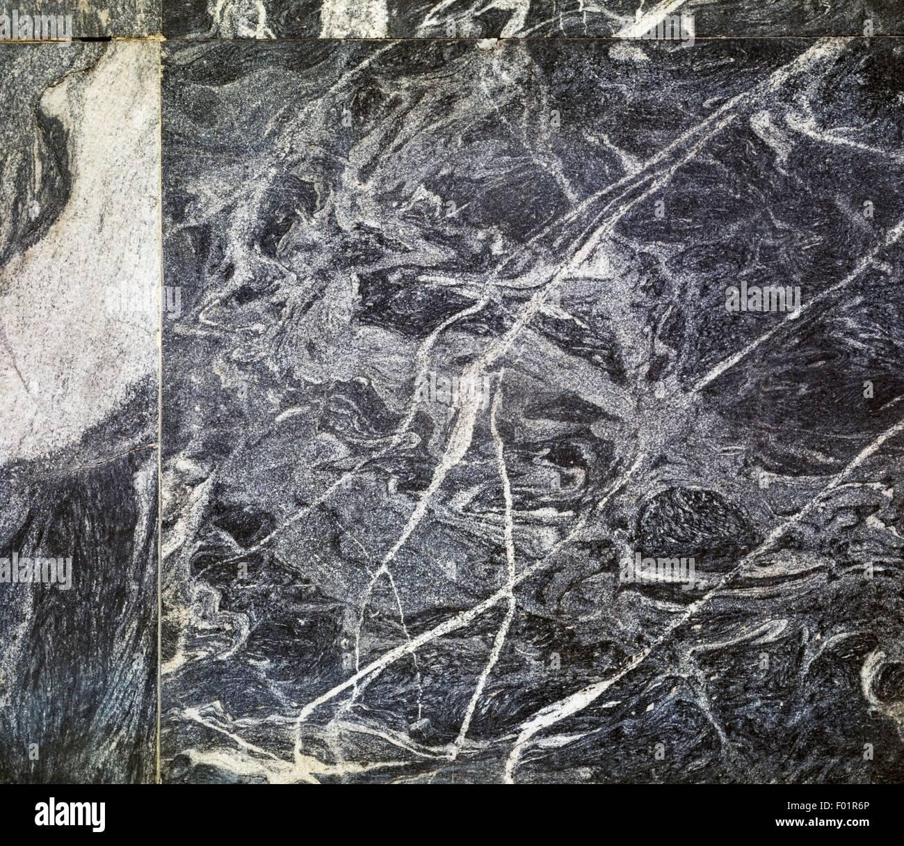 Polished slabs of Migmatite, metamorphicand igneous rock. - Stock Image