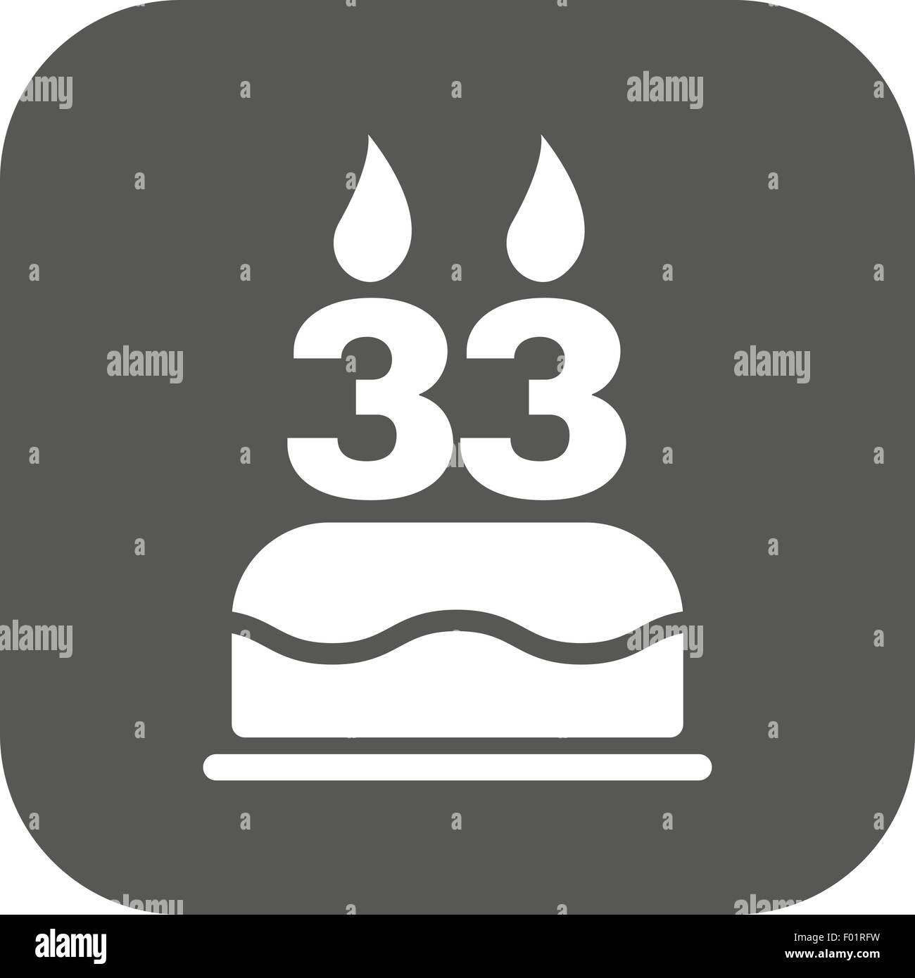 The Birthday Cake With Candles In Form Of Number 33 Icon Symbol