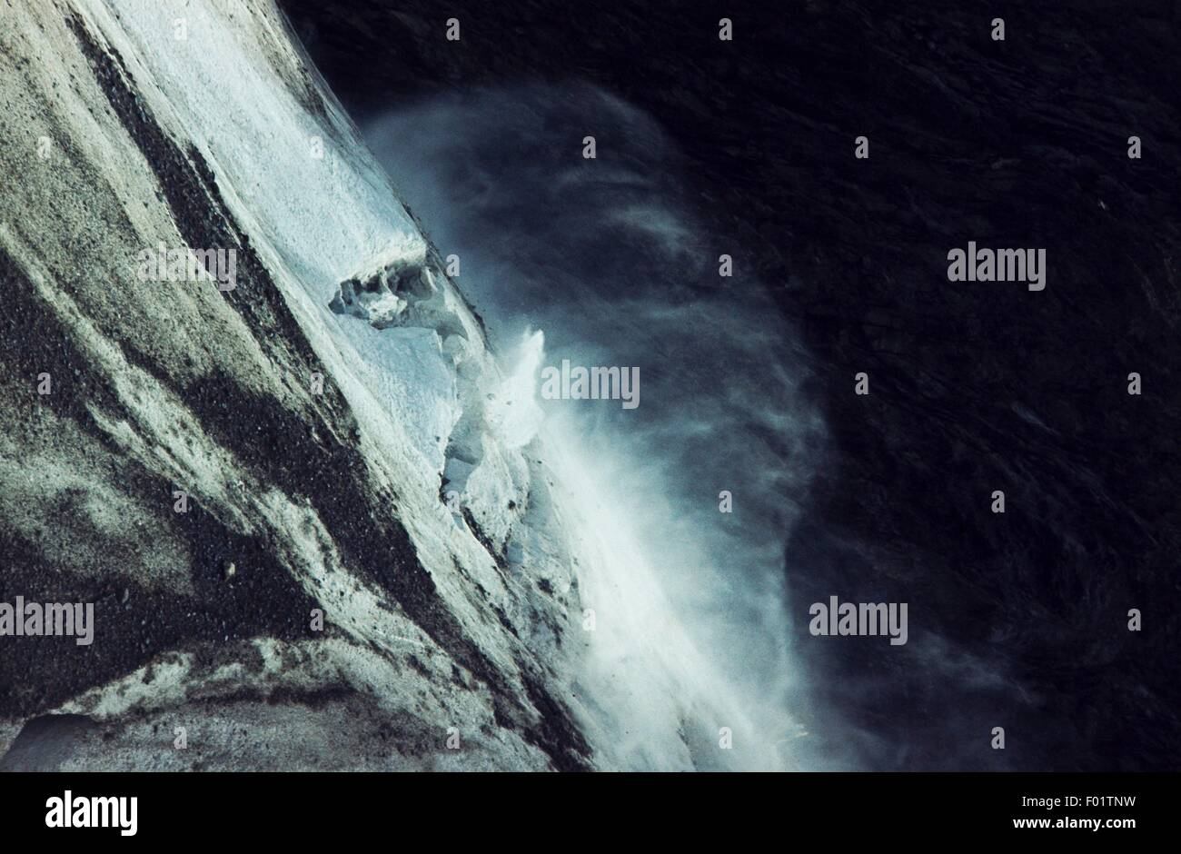 Avalanche on the Miage glacier, Mont Blanc, Valle d'Aosta (Western Alps), Italy. Stock Photo