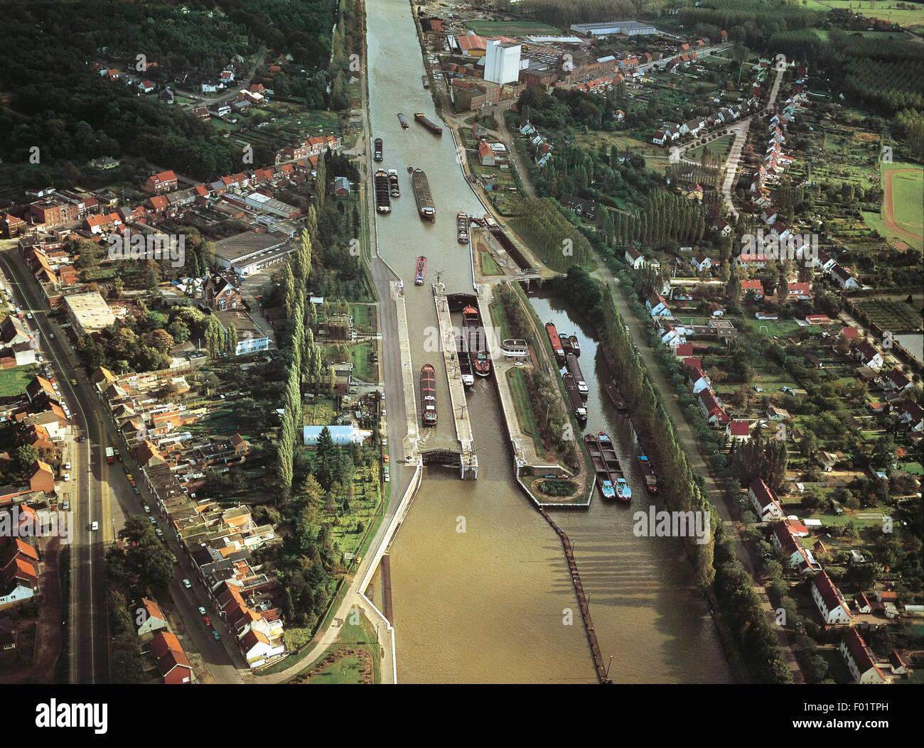 Aerial view of Albert Canal derived from the Meuse River at Antwerp - Flanders, Belgium. - Stock Image