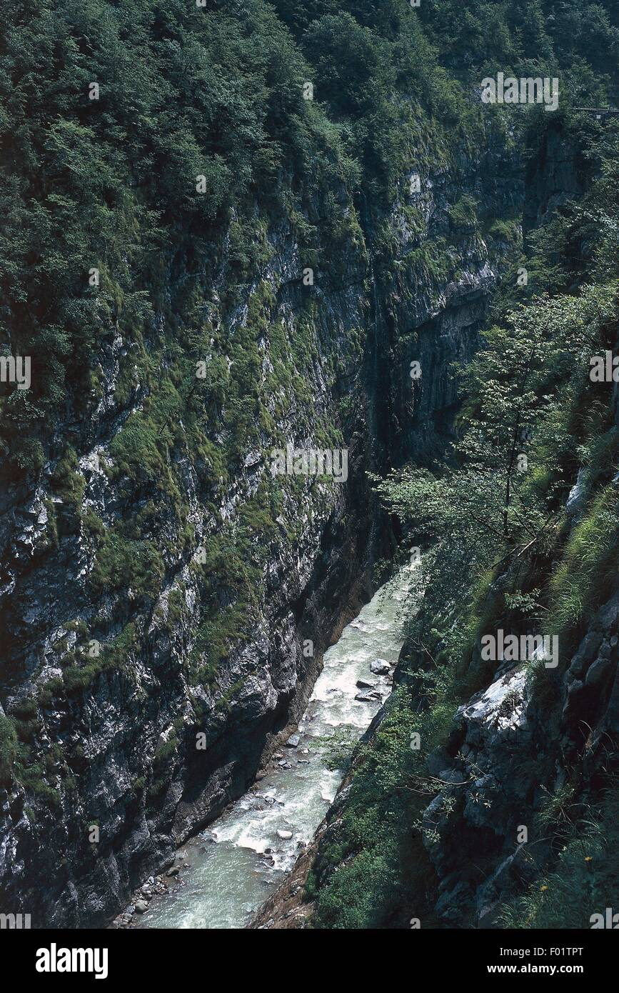 The Dezzo River flowing through a gorge, Scalve valley, Val d'Angle (Brescia), Lombardy, Italy. - Stock Image