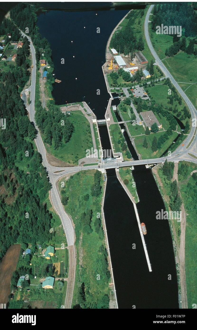 Aerial view of Saimaa Canal that links Finland and Russia - Lake Saimaa, Finland - Stock Image
