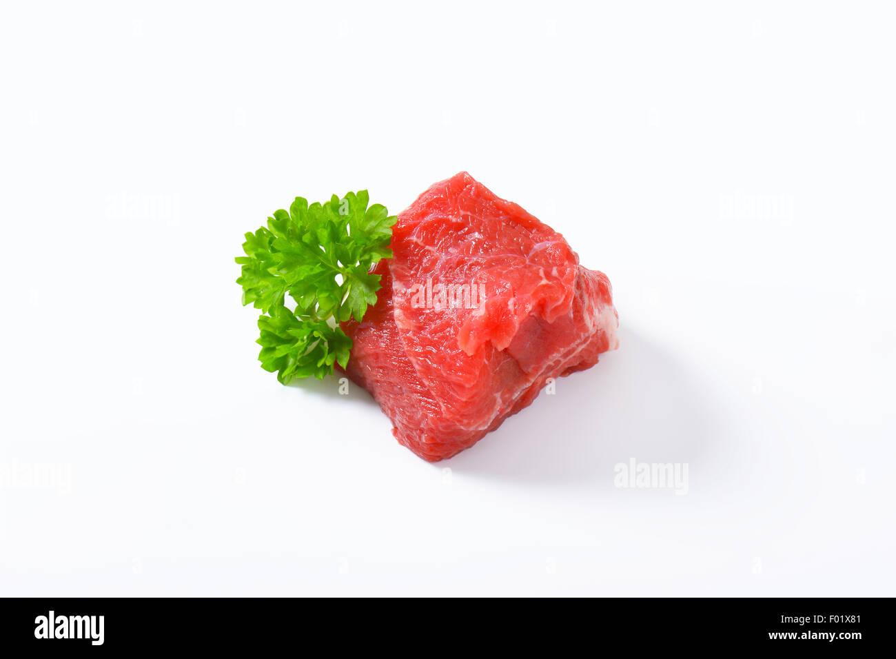 Chunk of raw beef steak - Stock Image