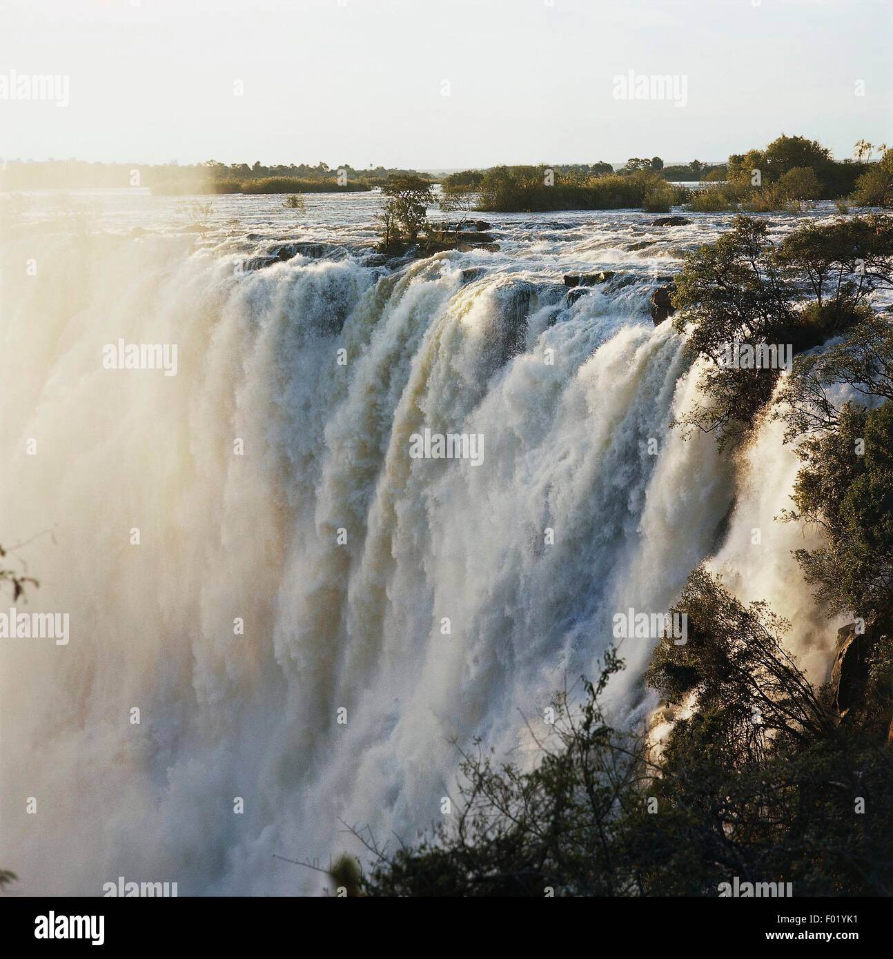 The Victoria falls (UNESCO World Heritage List, 1989), Livingstone, Zambia. - Stock Image