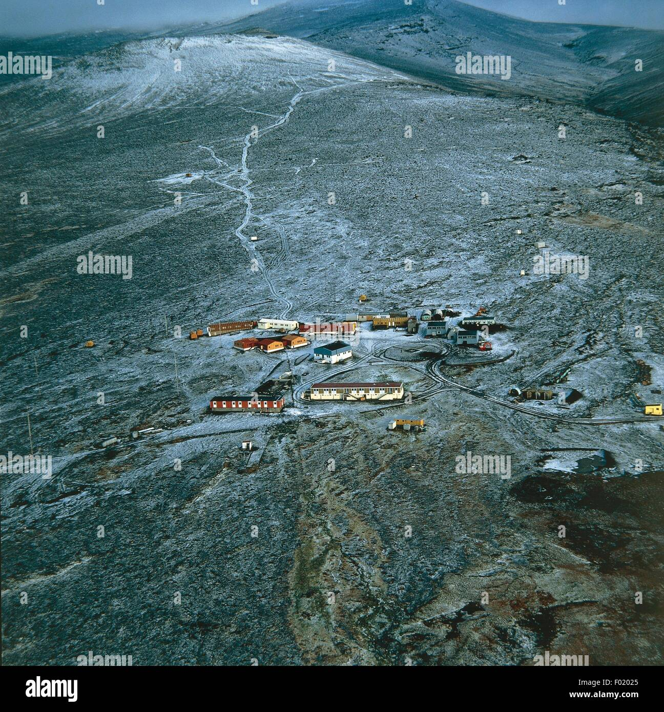 Aerial view of scientific research base Alfred-Faure, Ile de la Possession - French Southern and Antarctic Lands - Stock Image