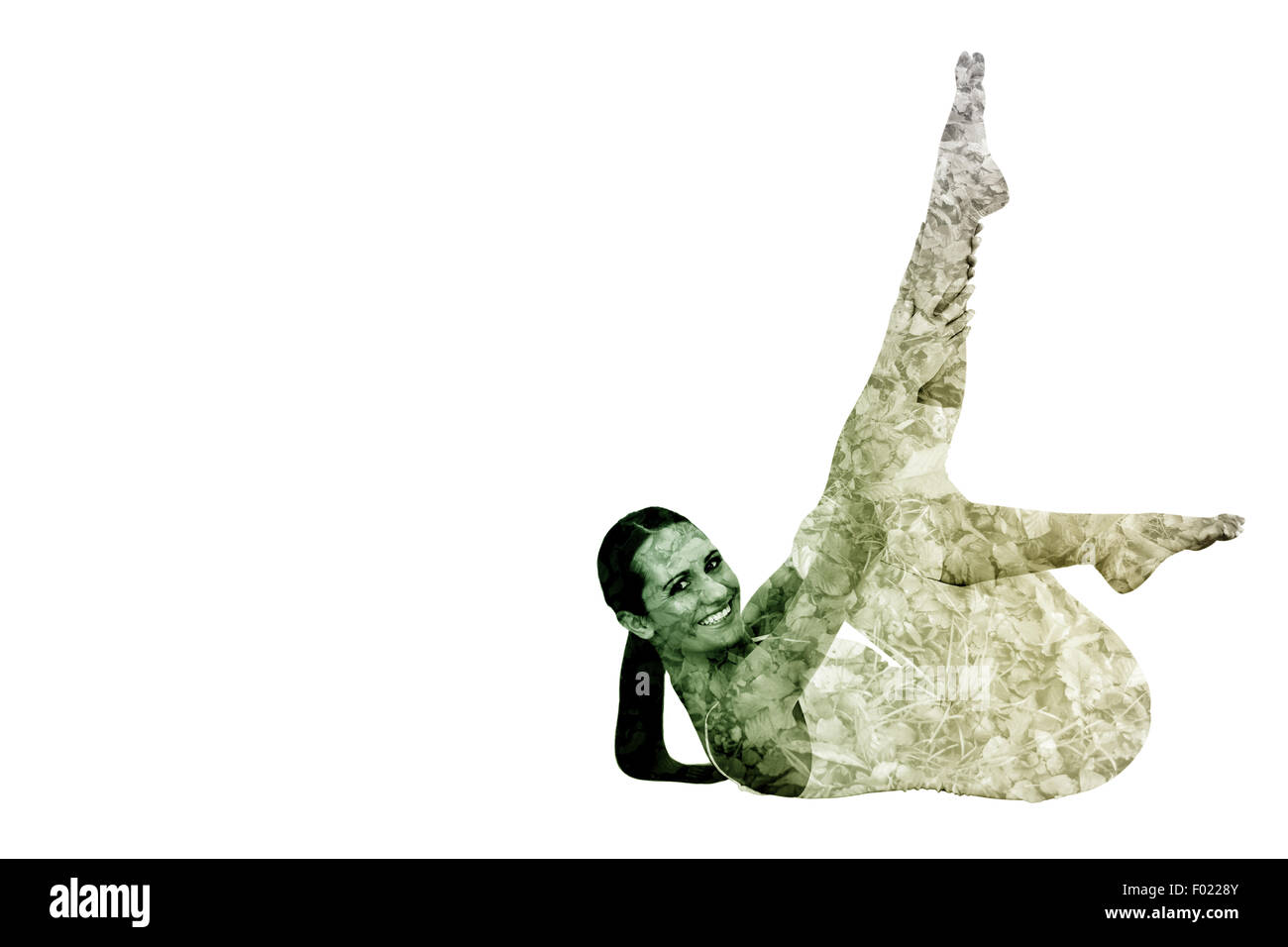 Composite image of fit woman stretching body in fitness studio - Stock Image