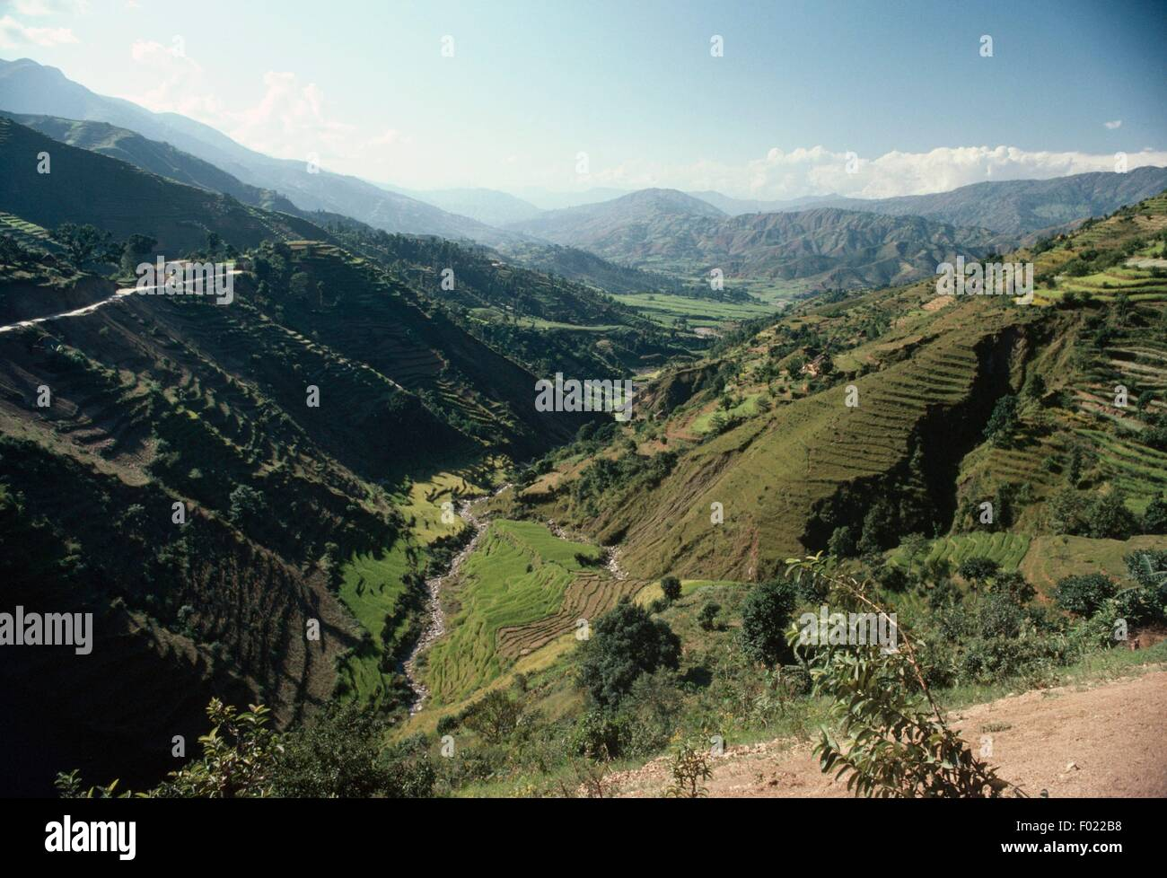 Valley near Lhedi, Lunana region, Bhutan. Stock Photo