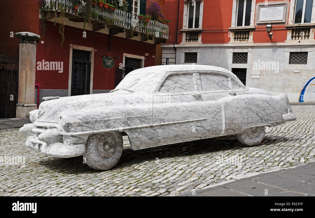 Cadillac marble sculpture, Carrara, province of Massa-Carrara, Tuscany, Italy Stock Photo