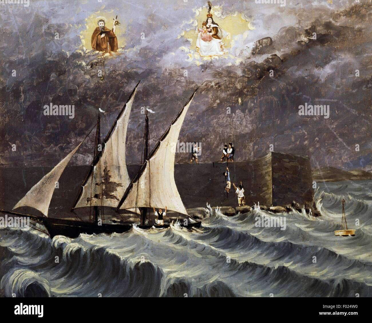 Sailing ship on a stormy sea, seafaring ex voto, Italy, 19th century. Stock Photo