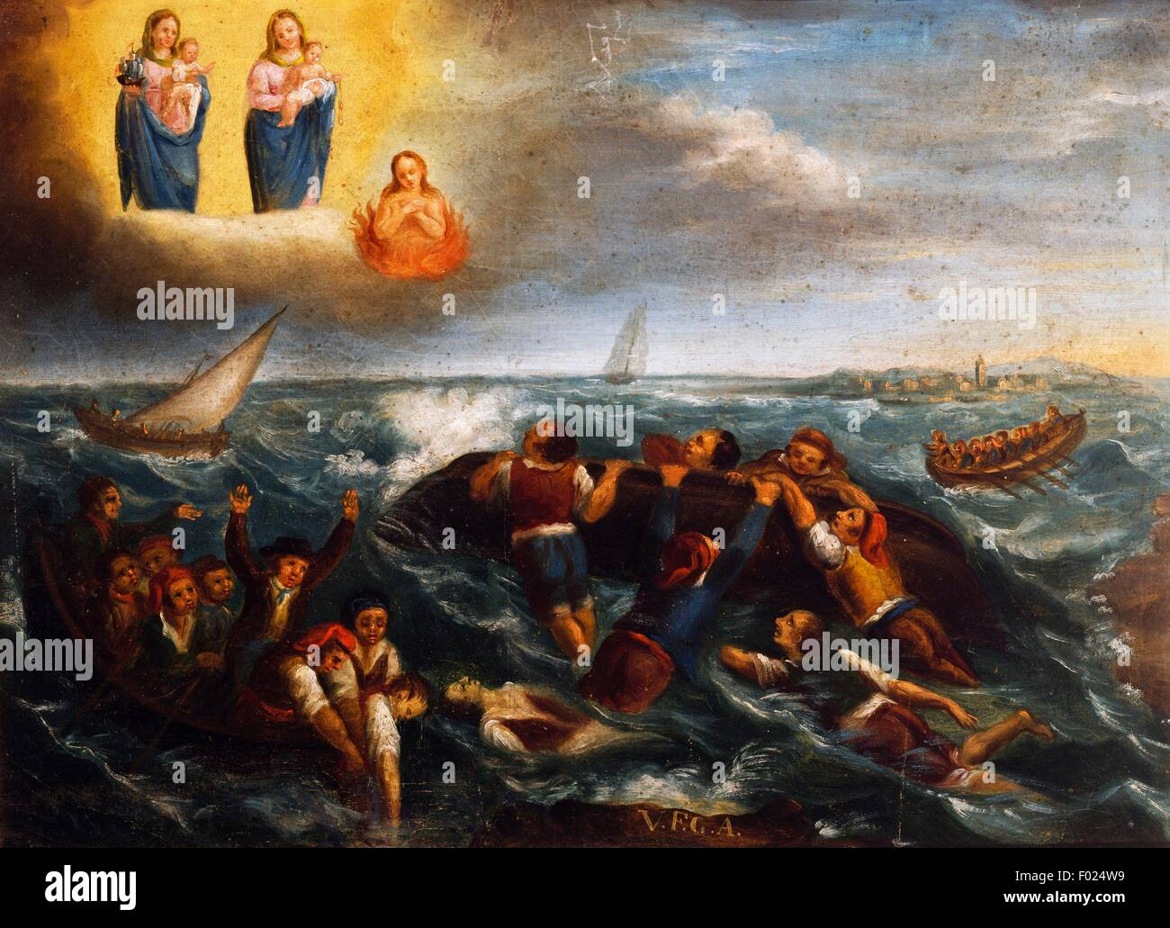 Shipwreck, seafaring ex voto, Italy, 19th century. - Stock Image