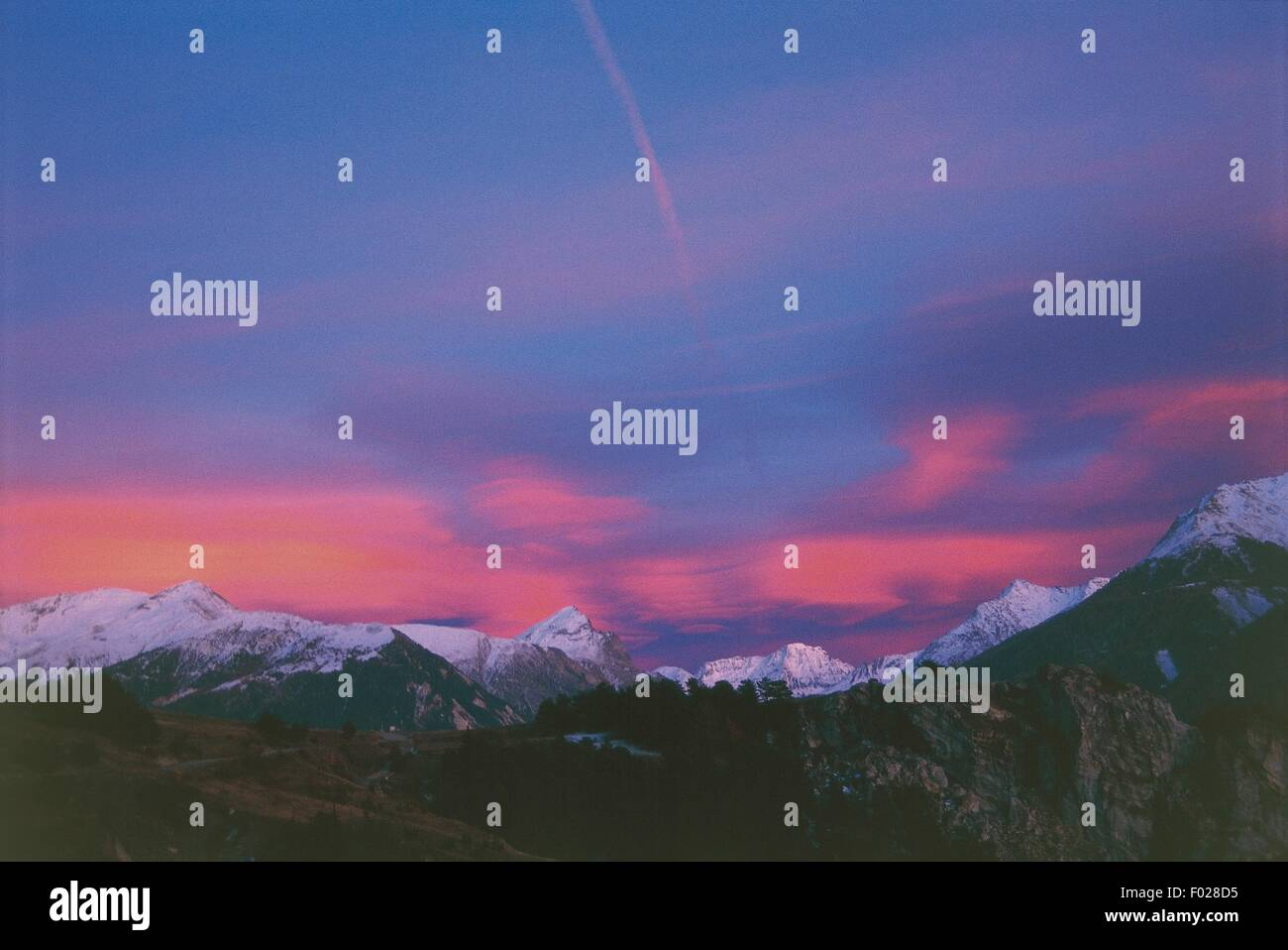 France - Rhone-Alpes. Mont Cenis in the surroundings of Aussois. Sunset - Stock Image