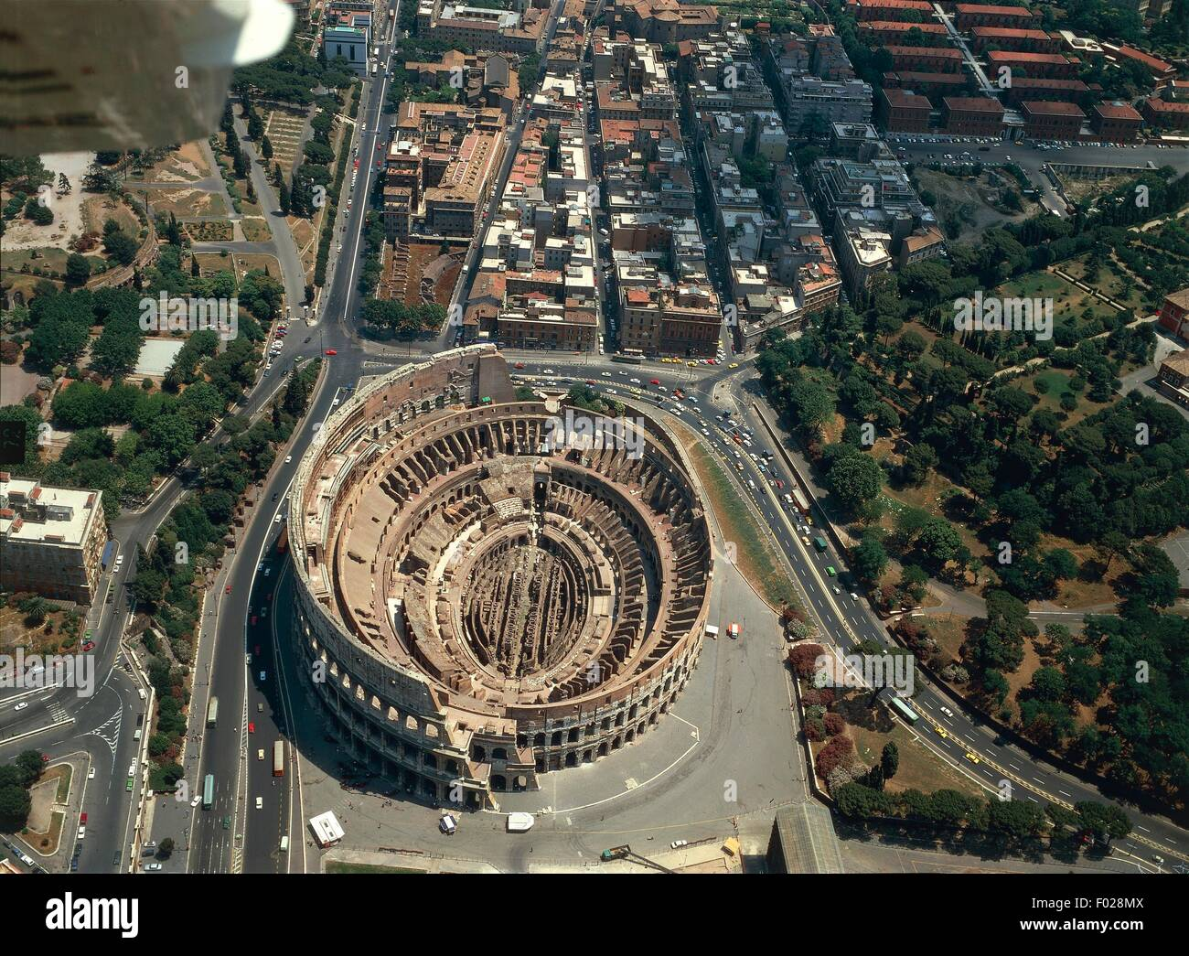 Aerial view of Flavian amphitheater Colosseum in Rome (UNESCO World Heritage List, 1980, 1990) - Lazio Region, Italy - Stock Image