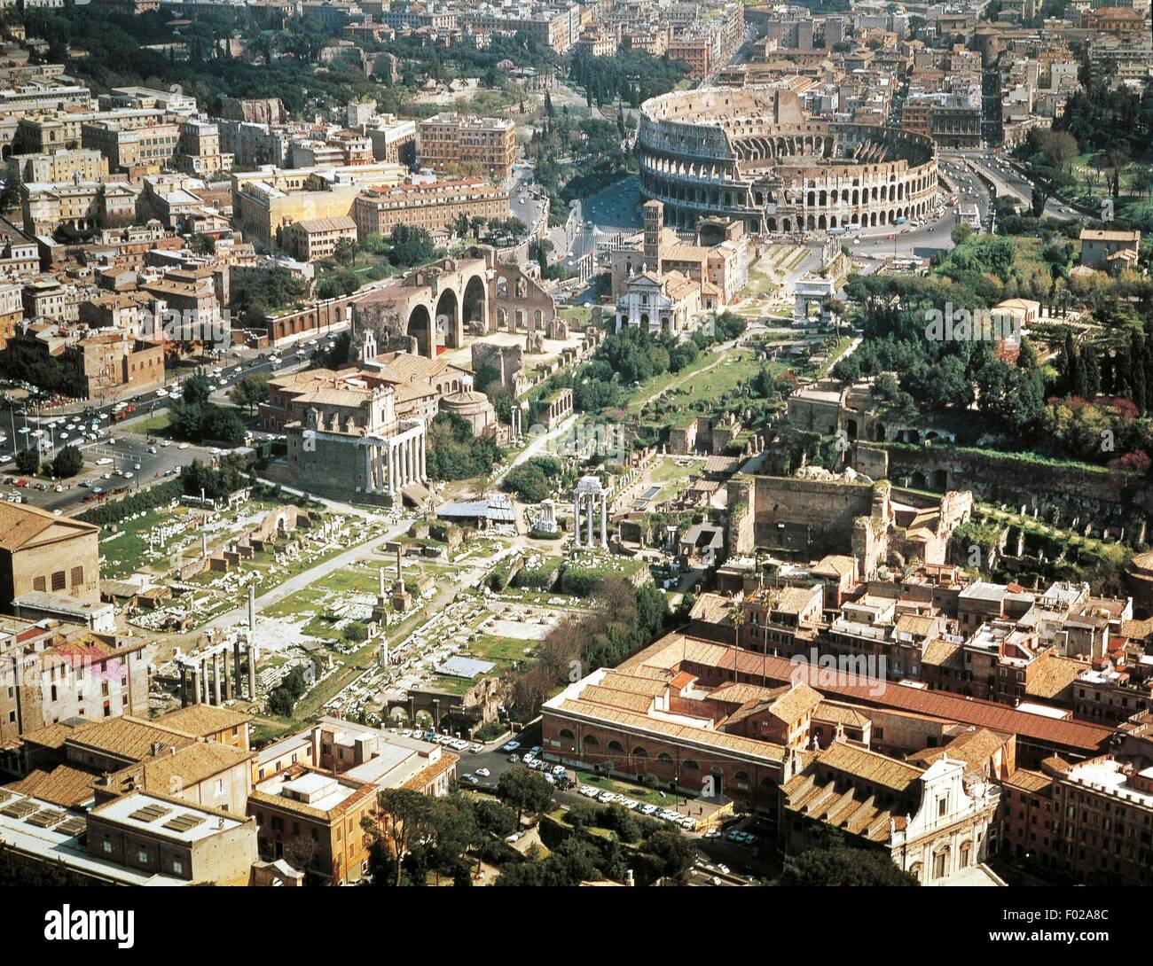 Aerial view of Roman Forum and Flavian amphitheater Colosseum in Rome (UNESCO World Heritage List, 1980, 1990)  - Stock Image
