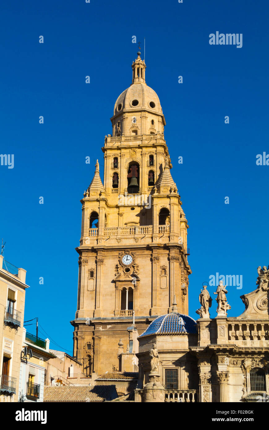 Tower, Catedral, the Cathedral church, Plaza del Cardenal Belluga square, old town, Murcia, Spain - Stock Image