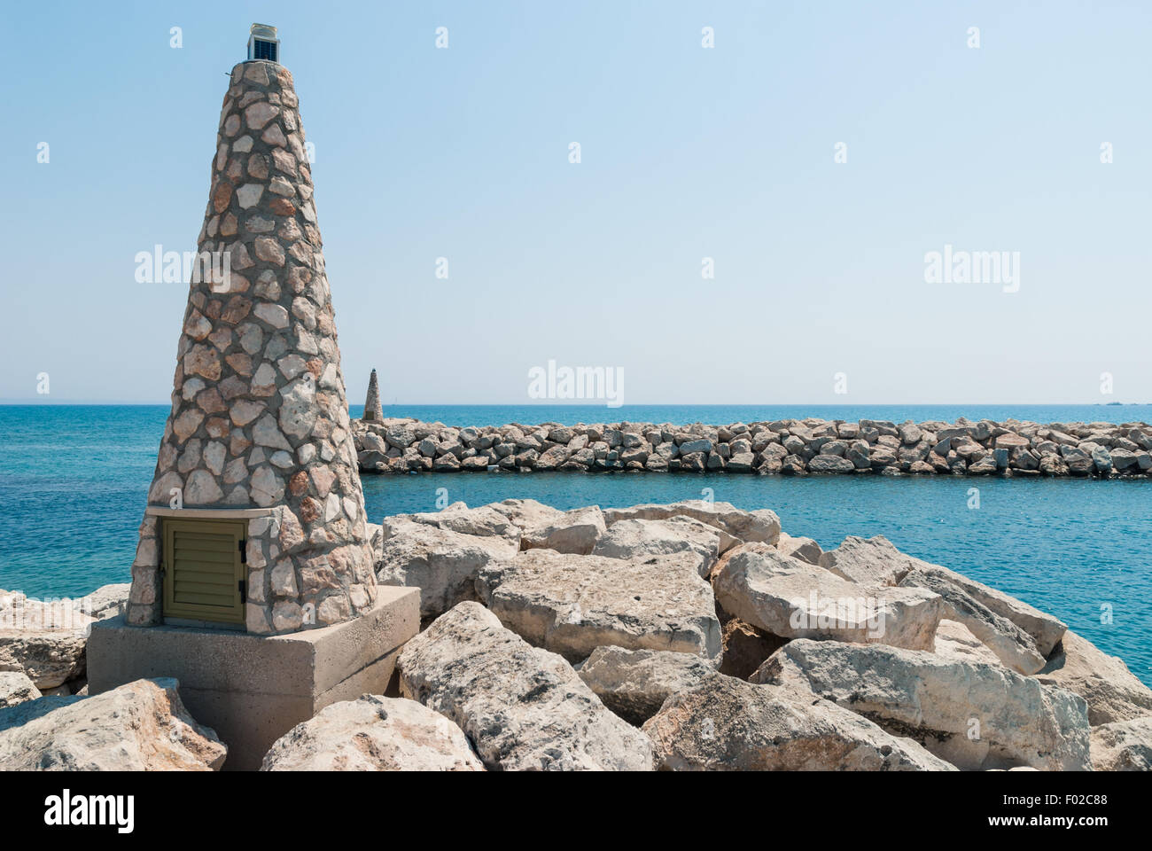 View on sea gates of marina. Larnaca. Cyprus - Stock Image