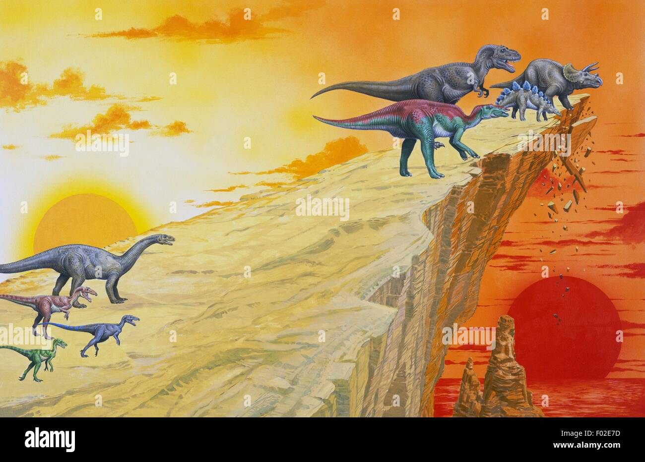 Dinosaurs on the brink of a precipice, Mesozoic. Illustration. - Stock Image