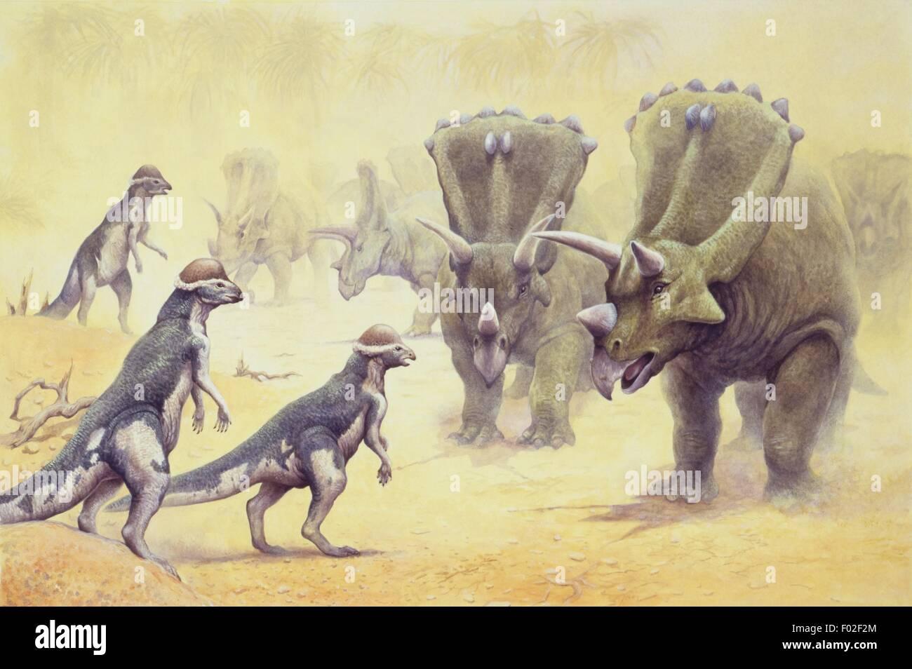 Palaeozoology - Mesozoic period - Dinosaurs - Art work - Stock Image