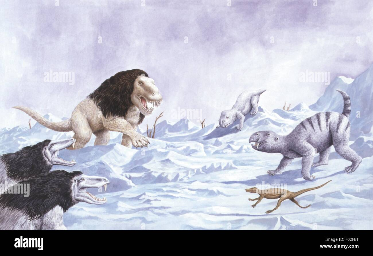 Palaeozoology - Ice age - Prehistoric animals in their environment - Art work by Philip Hood - Stock Image