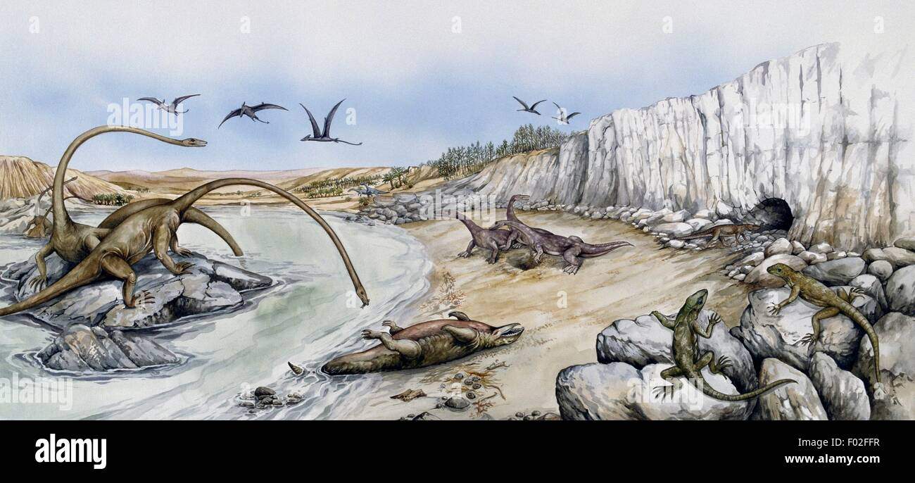 environment with prehistoric animals mesozoic artwork by robin carter stock image