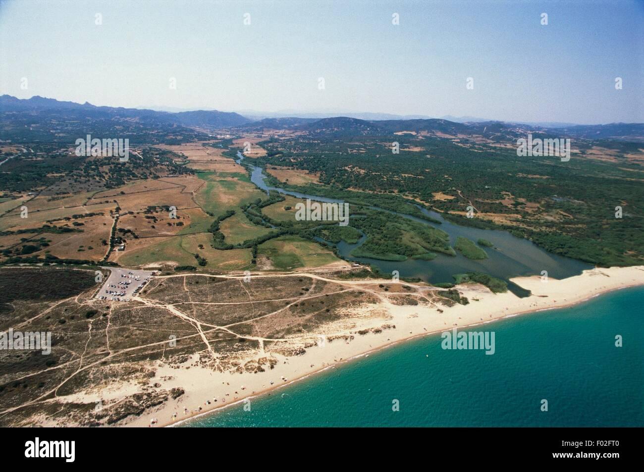 Aerial view of the mouth of river Liscia at Porto Raphael, Palau - Province of Olbia-Tempio, Sardinia Region, Italy - Stock Image