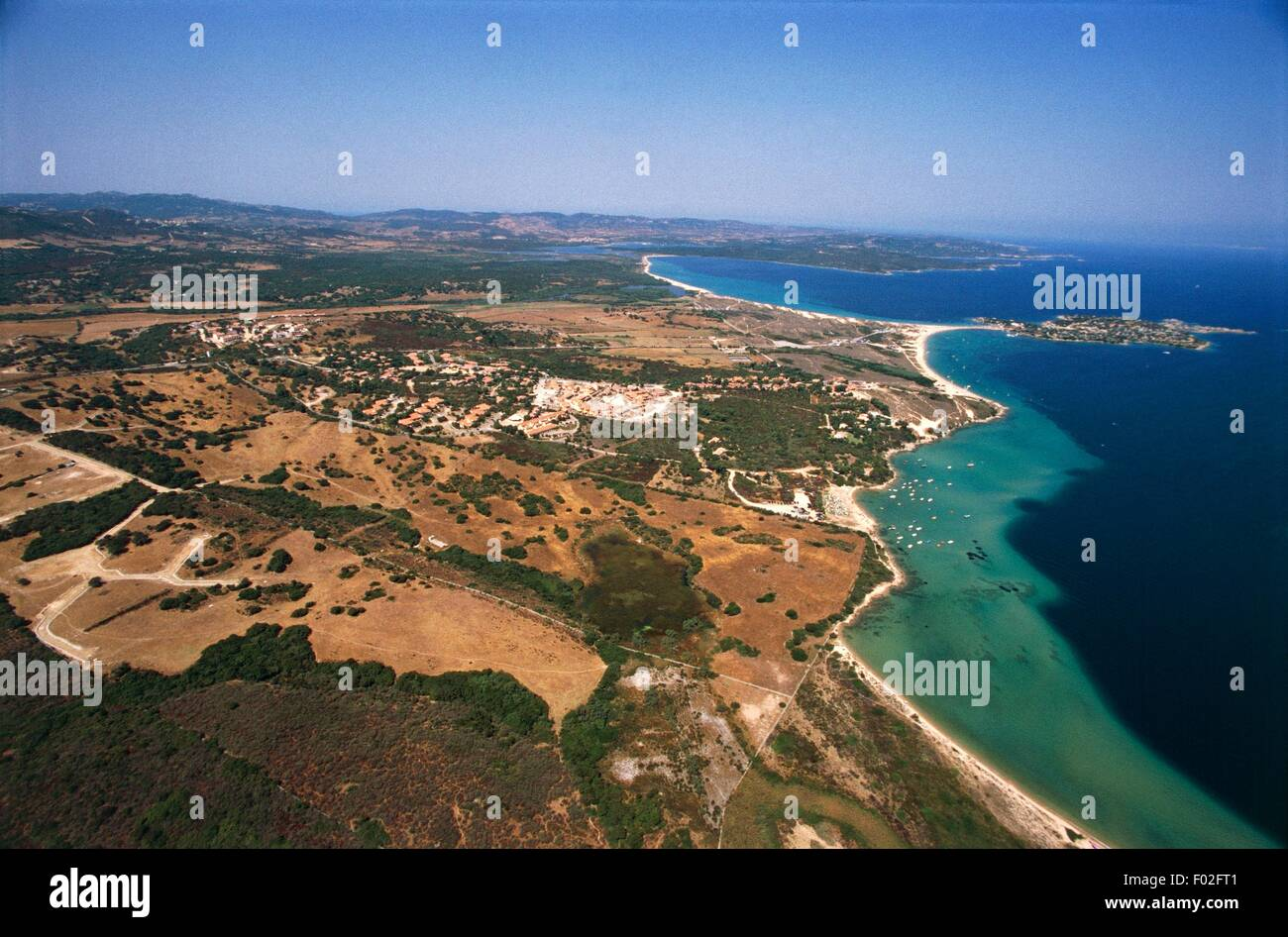 Aerial view of the surroundings of the mouth of river Liscia at Porto Raphael, Palau - Province of Olbia-Tempio, - Stock Image