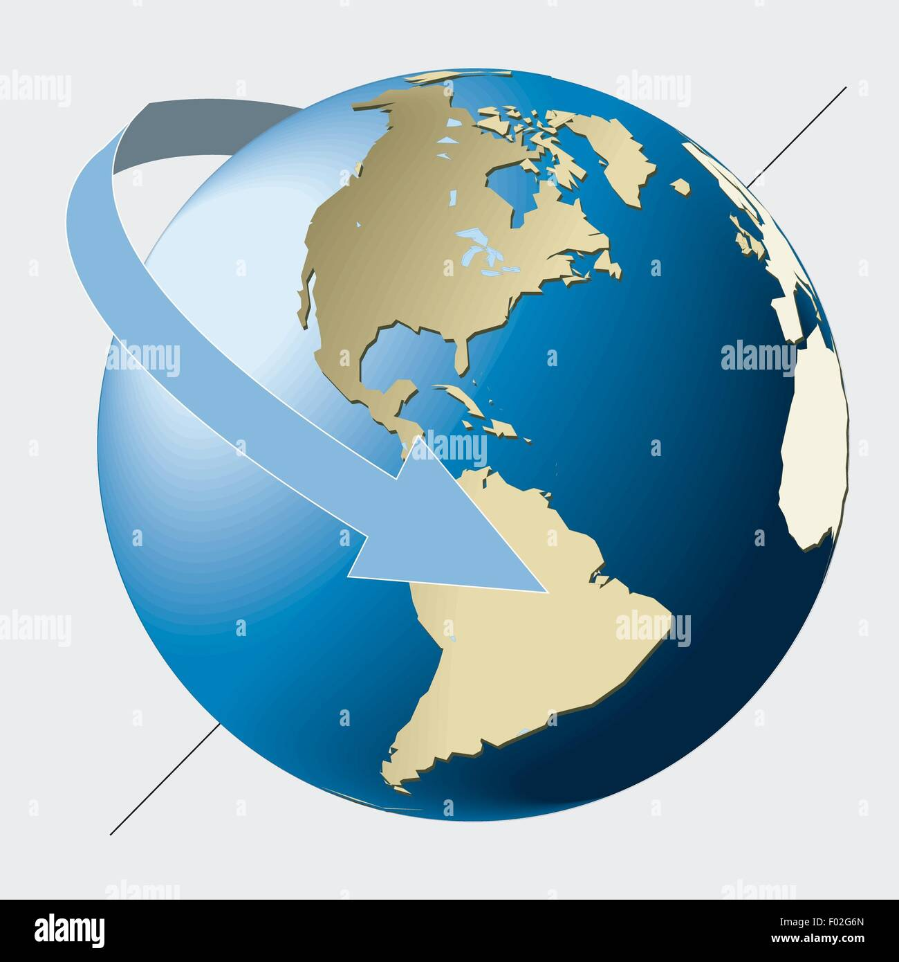 Astronomy - Earth rotates in eastward sense on its axis. Color diagram - Stock Image