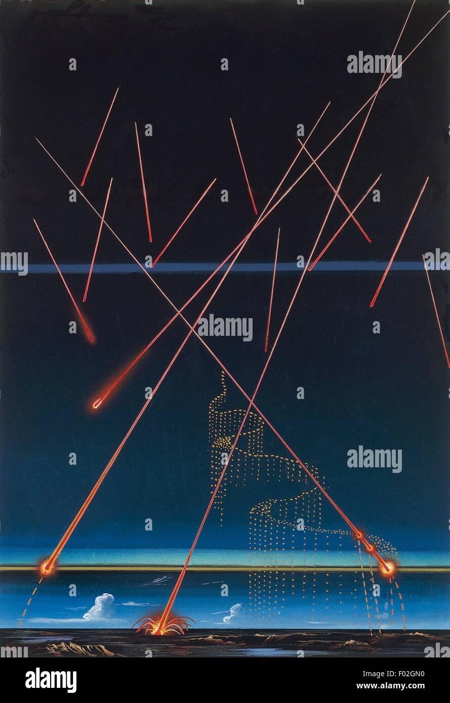 Astronomy - Meteorites trajectories, illustration - Stock Image