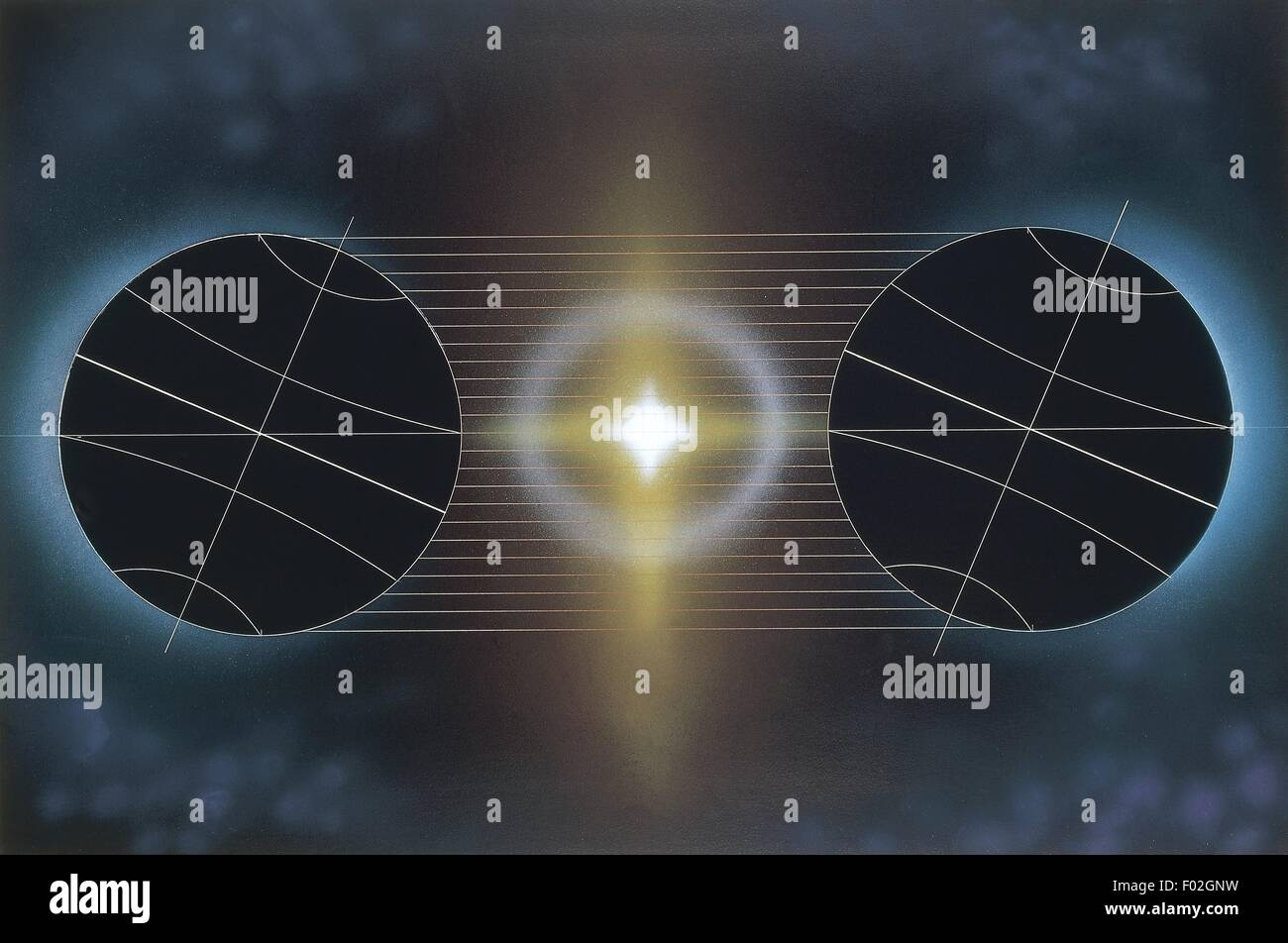 Astronomy - Different exposure of the earth to the sun's rays during solstices. Illustration - Stock Image