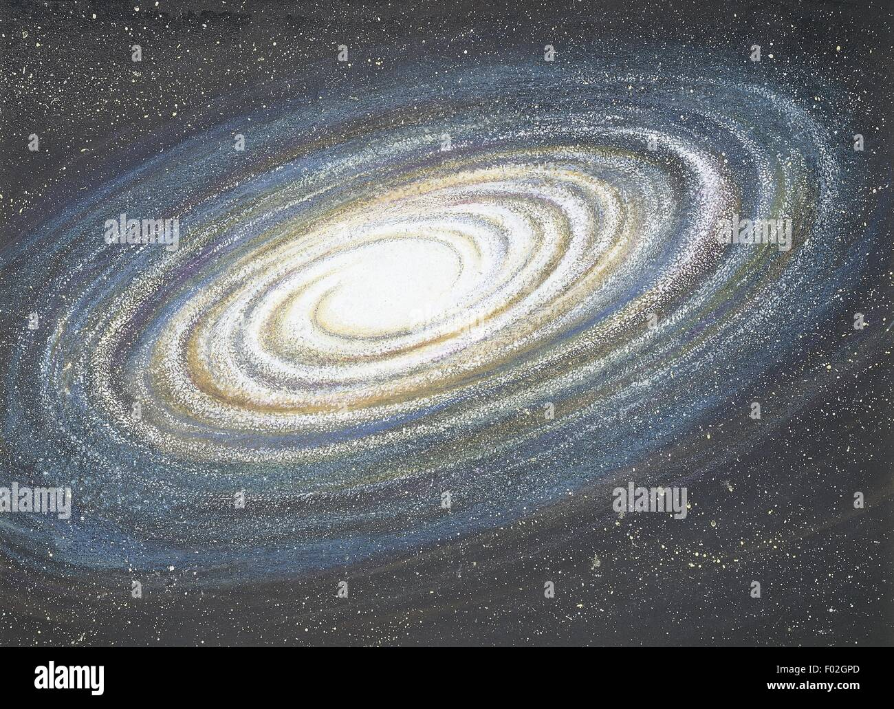 Astronomy - Spiral galaxy, illustration - Stock Image