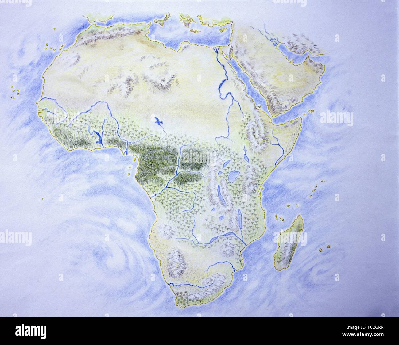 Cartography - Map of Africa, illustration - Stock Image
