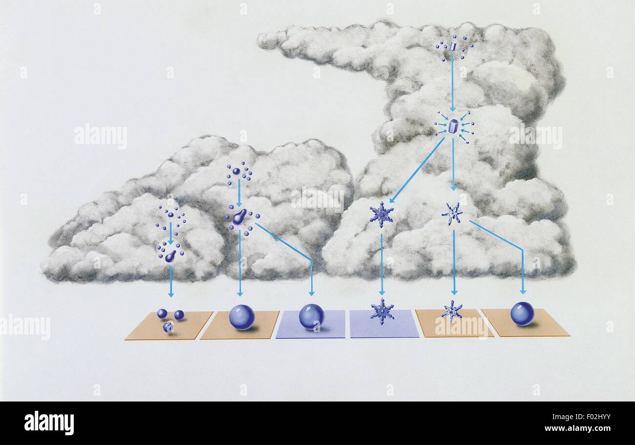 Meteorology - The origin of precipitation in the clouds: the formation of droplets or ice crystals (respectively, - Stock Image