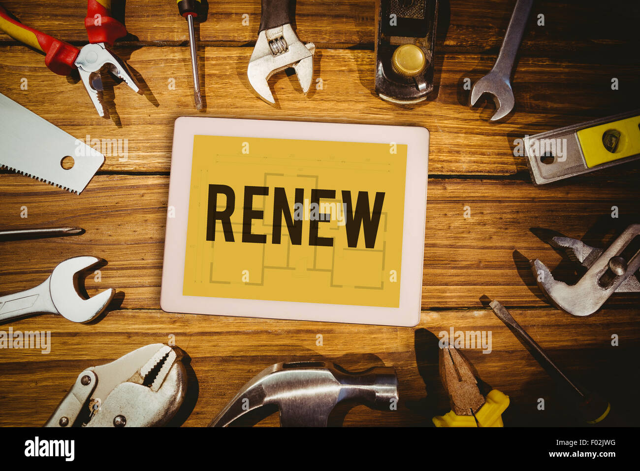 Renew against blueprint - Stock Image