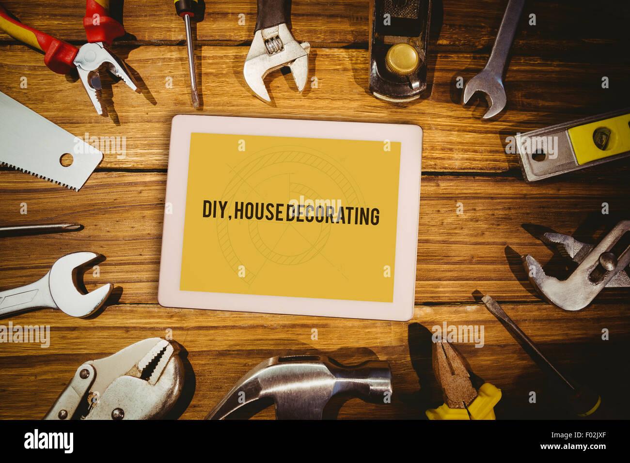 Diy, house decorating against blueprint - Stock Image