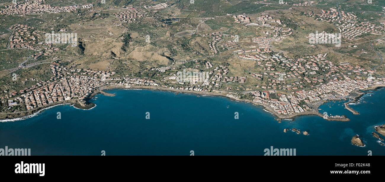 Aerial view of Aci Trezza and Aci Castello - Province of Catania, Sicily Region, Italy. Stock Photo