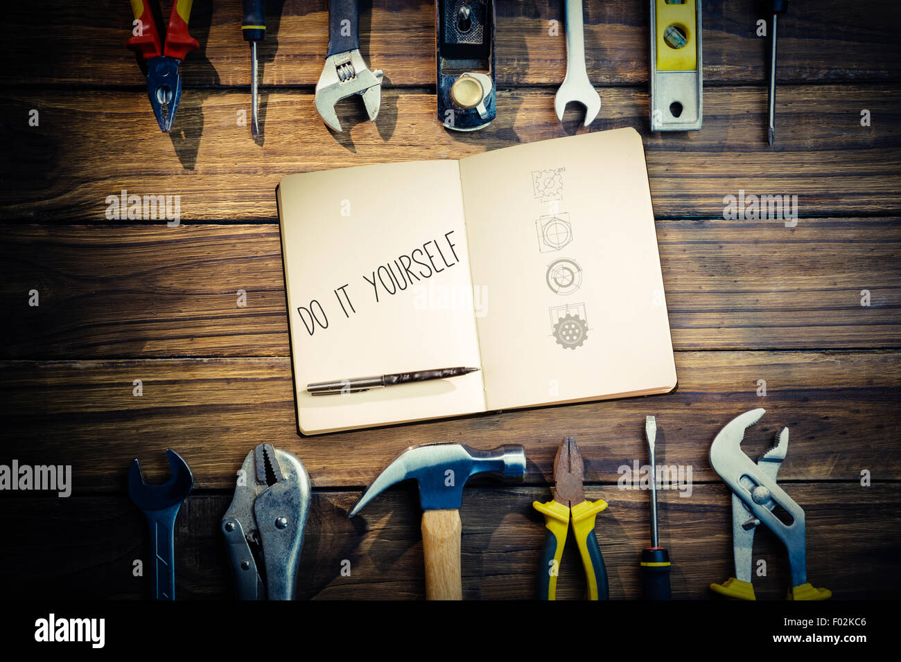 Do it yourself against blueprint - Stock Image