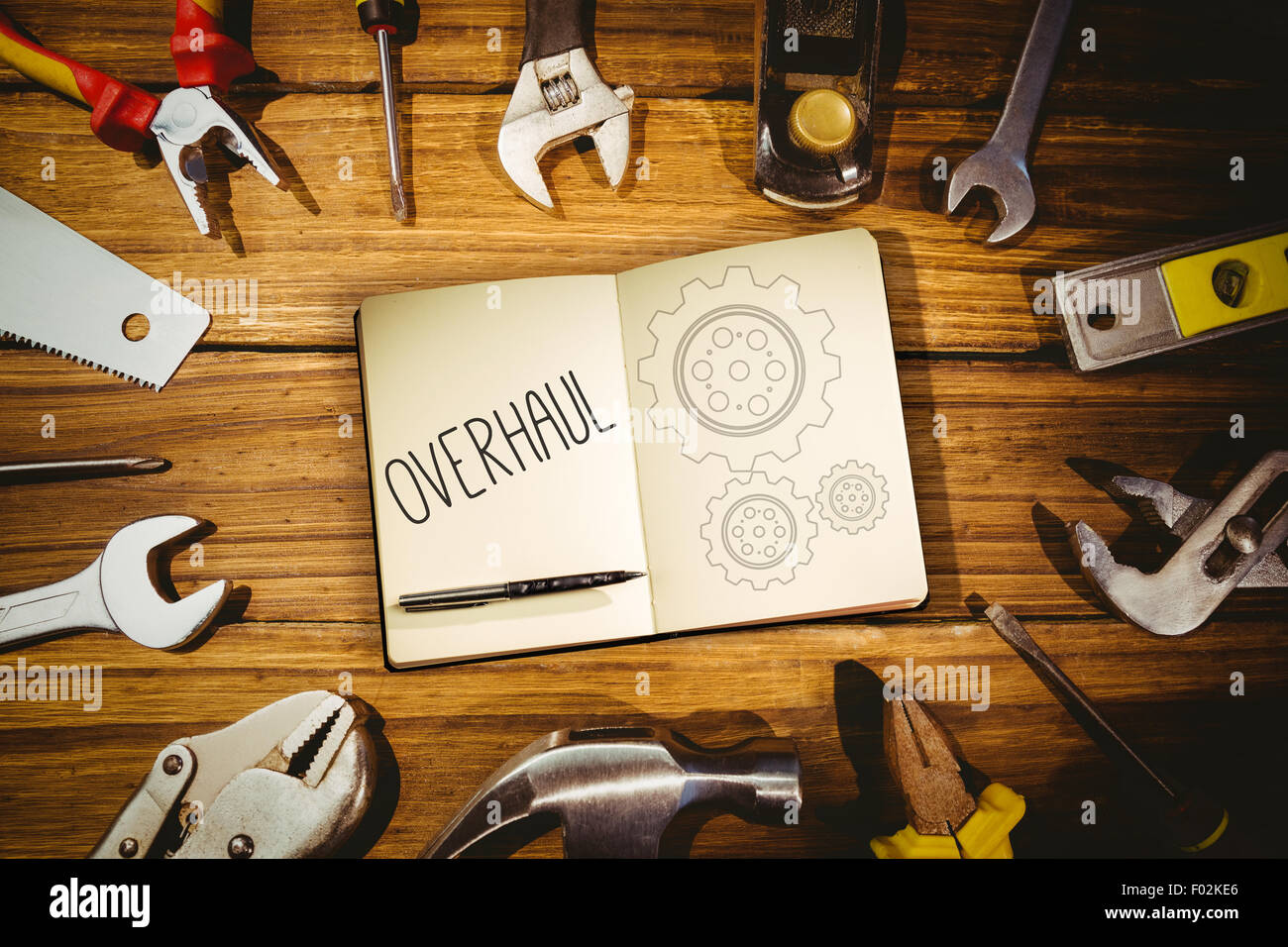 Overhaul against blueprint Stock Photo