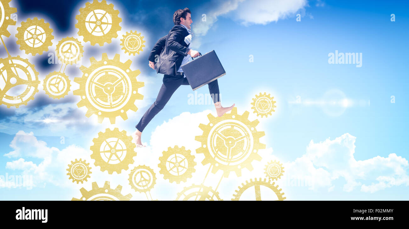 Composite image of leaping businessman - Stock Image