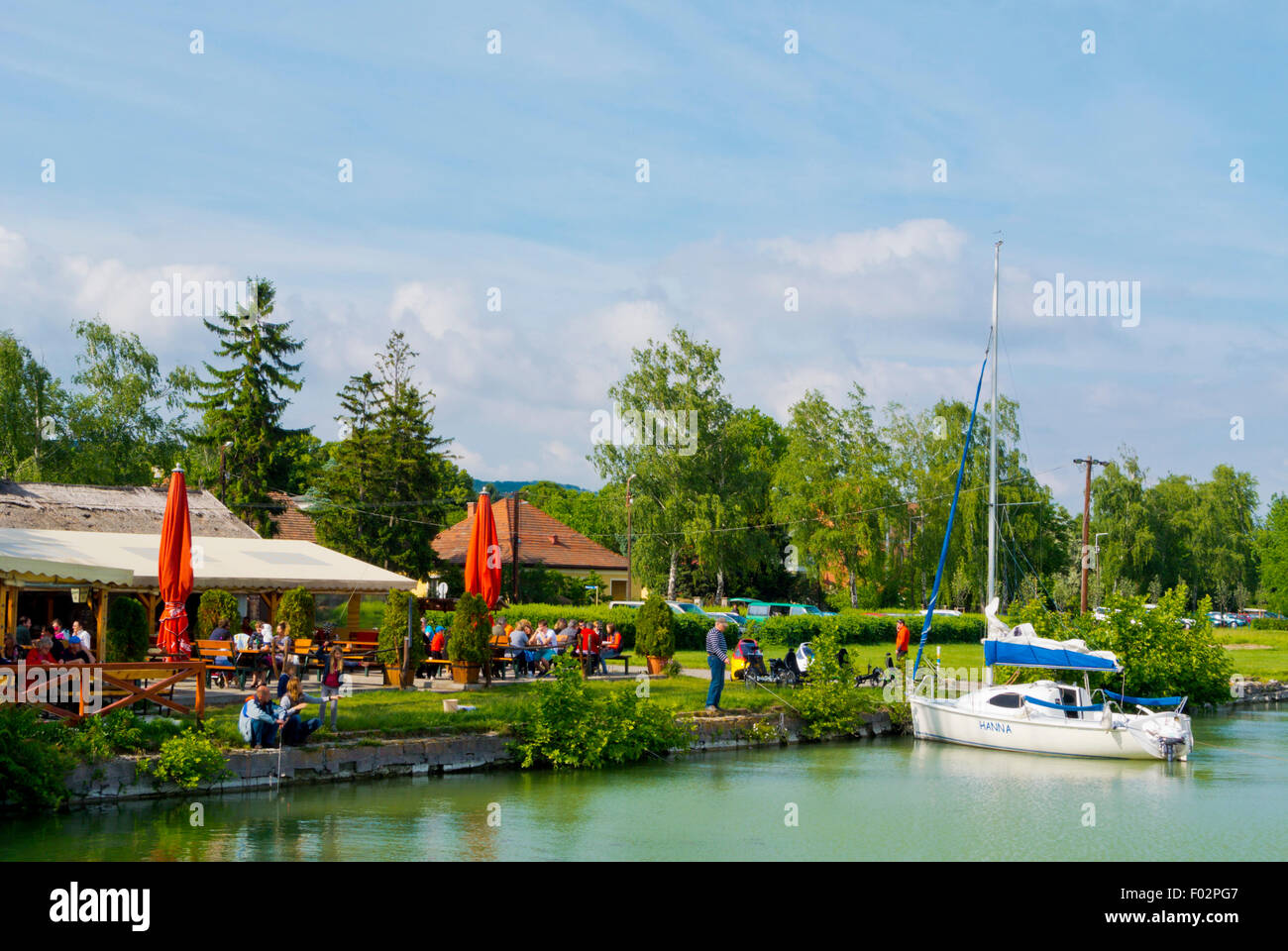 Lakeside next to the pier, with restaurants, Revfulop, Lake Balaton, Hungary, Europe - Stock Image
