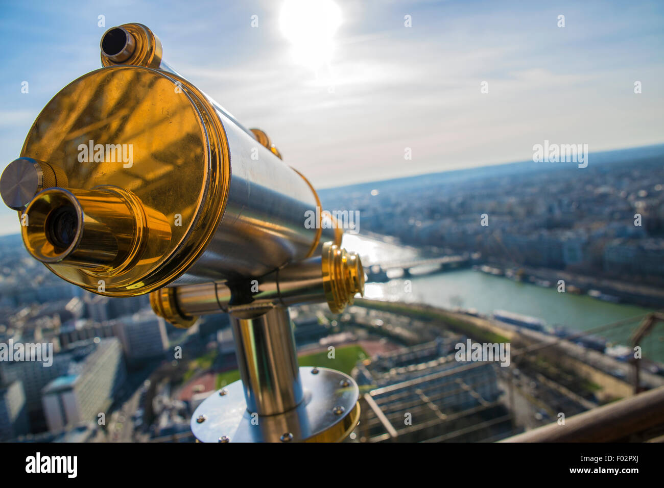 Telescope and view from the top of the Eiffel tower, Paris - Stock Image