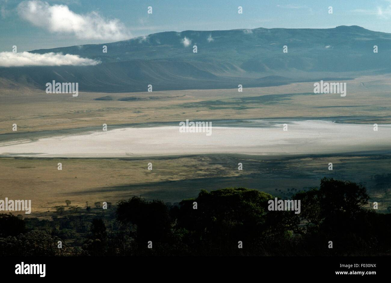 A body of water in the crater of Ngorongoro, Ngorongoro Conservation Area (UNESCO World Heritage List, 1979), Tanzania. - Stock Image