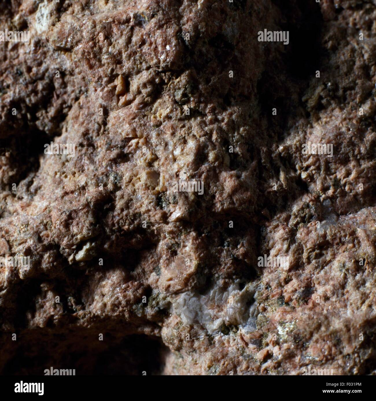 Granophyre, fine-grained igneous rock, from Valganna, Lombardy, Italy. - Stock Image