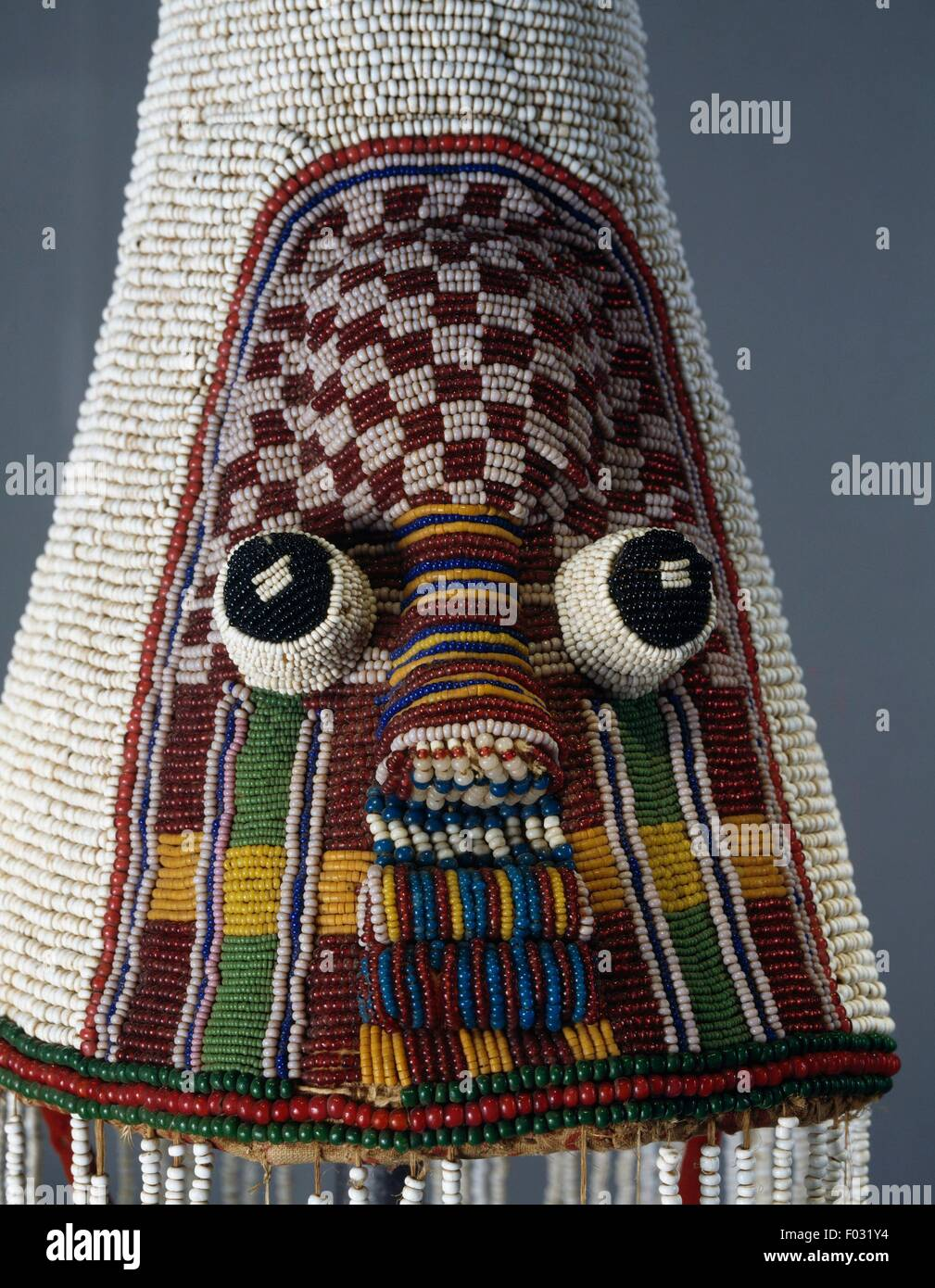 Ade, glass bead royal ceremonial headdress, Yoruba, Nigeria. Detail. - Stock Image